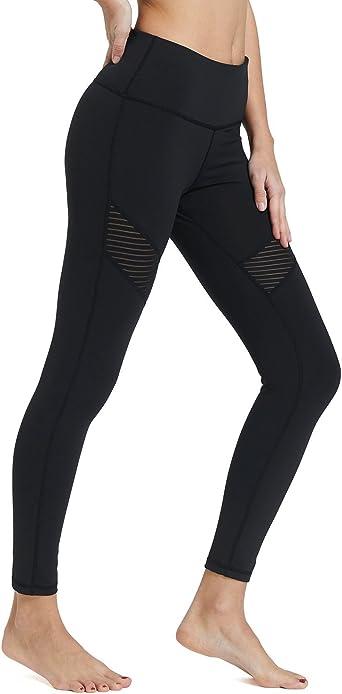 BALEAF Womens High Waisted Leggings Yoga Pants Tummy Control Winter Workout Leggings Inner Pocket Black Size XL