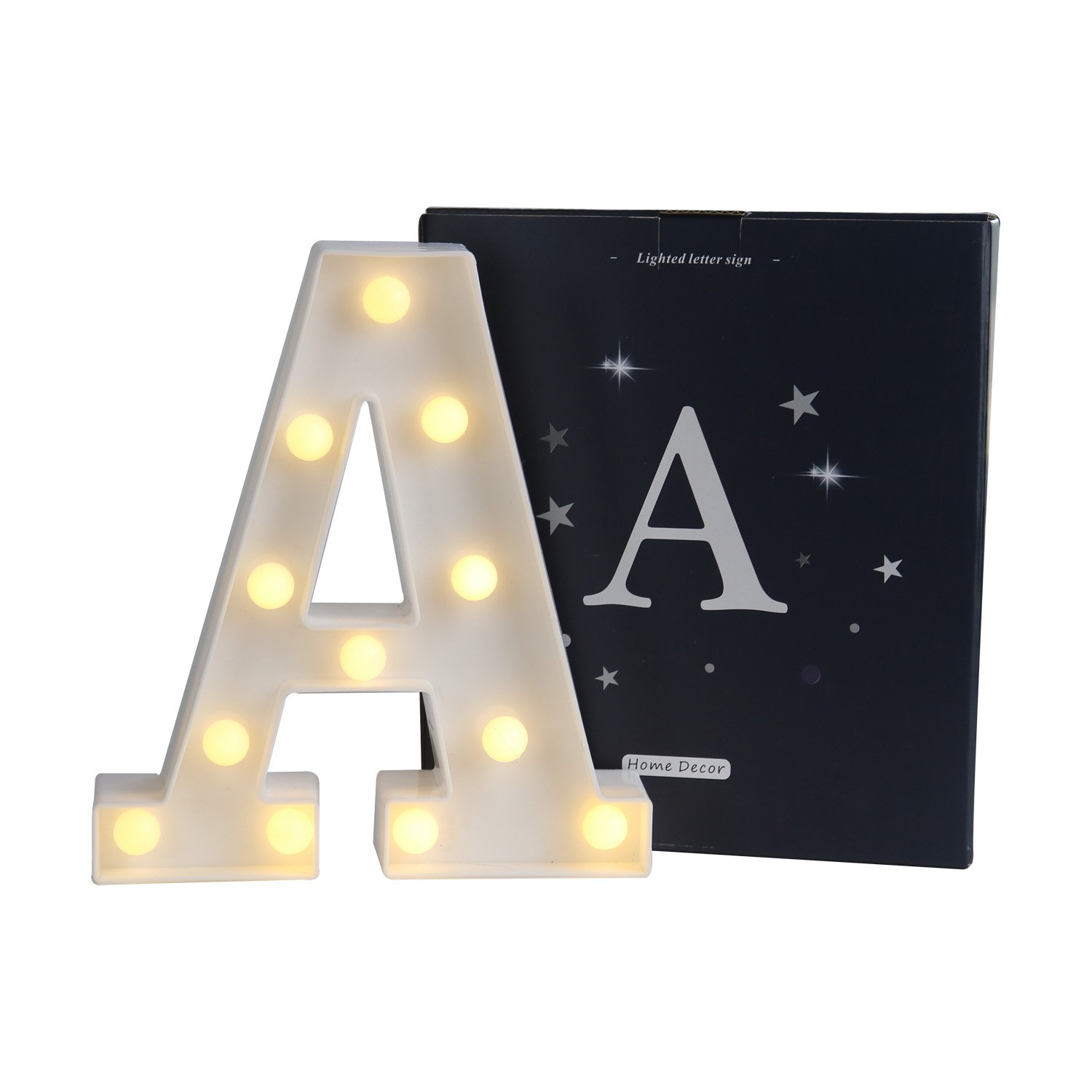 DELICORE LED Marquee Letter Lights Sign, Light Up Alphabet Letter for Home Party Wedding Decoration A