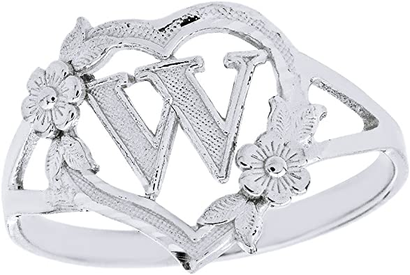 CaliRoseJewelry Silver Initial Alphabet Personalized Heart Ring Letter J