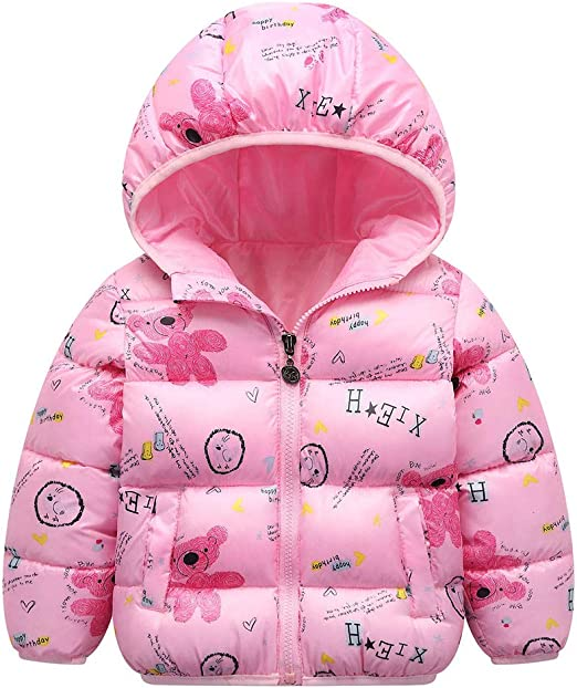 Shan-S Toddler Kids Baby Girls Boys Childrens Long Sleeve Floral Hooded Cotton Coat Winter Warm Jacket Hooded Lightweight Windproof Thick Coats Snowsuit