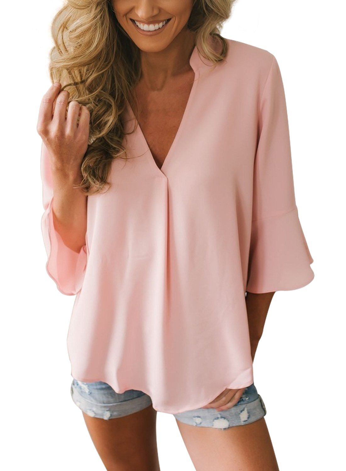 Dokotoo Womens Loose Solid Chiffon Flare Tops Summer V Neck 3 4 Sleeve Blouse Fashion Shirts Under 20 for Work Pink Medium