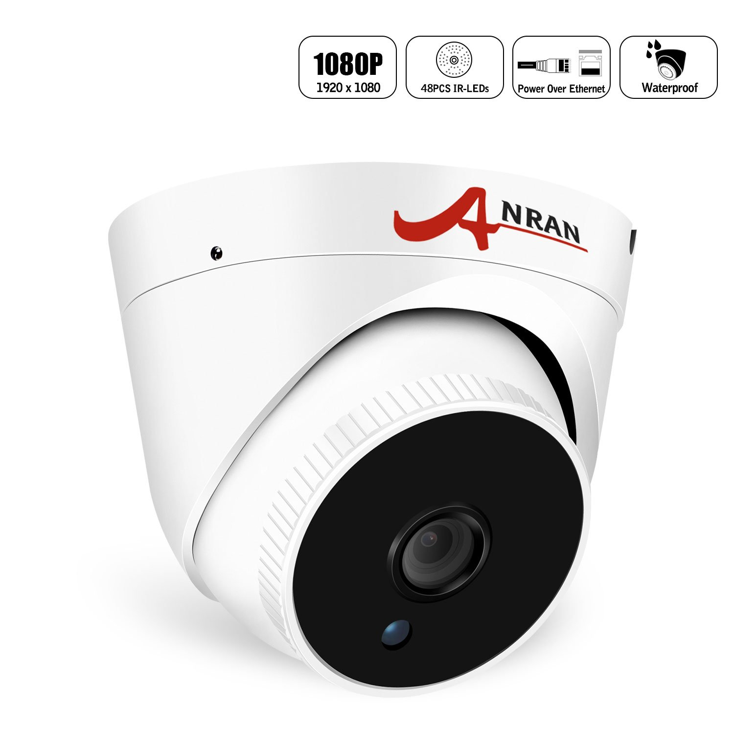 Home Video PoE Security Camera, ANRAN 2.0MP Dome Surveillance IP Network Camera IP66 Weatherproof for Outdoor Indoor, Power over Ethernet, Day Night Vision, NOT PTZ