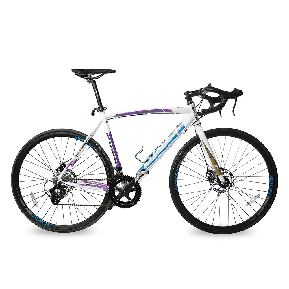 Bavel 軽量ロードバイク アルミフレームとフォーク 700C ディスクブレーキ 自転車 48cm ホワイト+ブルー B07BQZHK8N