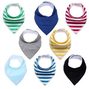 Baby Drool Bibs Bandana Teething Organic Cotton Adjustable Snap Triangle Bib Set Baby Boys Girls Shower Gift (Striped&Solid Color 8pcs)
