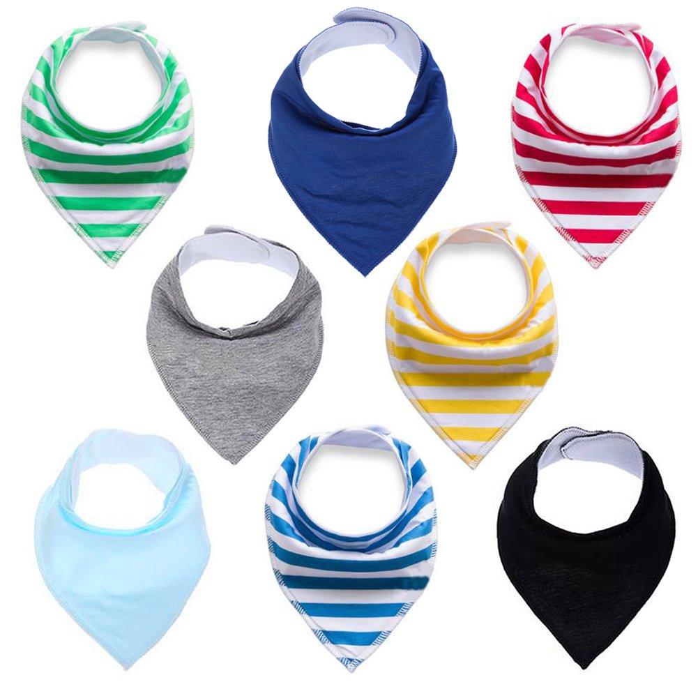 Baby Drool Bibs Bandana Teething Organic Cotton boys girls Adjustable Snap triangle Bib set (Striped&Solid color 8pcs)