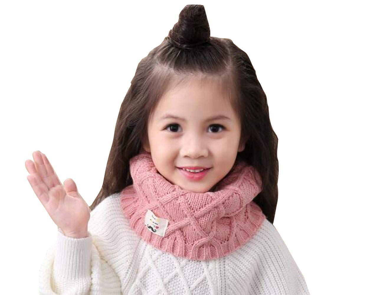 1PC Soft Unisex Baby Kids Fashion Solid Color Soft Thick Knitted Scarf Winter Warm Infinity Scarf Circle Loop Neckerchief Neck Warmer Wrap Scarves (Grey) SYBL