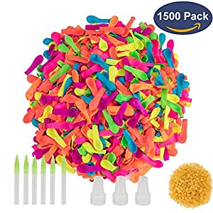 Simona Micah 1500 Pack Water Balloons Refill Quick & Easy Kit Latex Water Bomb Balloons Fight Games - 1500 Balloons + 3 Quick & Easy Hose Nozzle