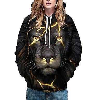 HWTOP Sweatshirt Hoodie Damen Oberteil, 3D Liebhaber Wolf Sport Pullover,  Löwenkopf Drucken Langarmshirt Bluse, mit Tasche Kapuzen Kleidung  Kapuzenpulli, ... 406636fb1b