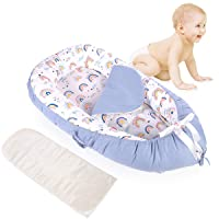 Portable Baby Lounger,Baby Nest Slepper,Nursery Crib for Newborn,100% Cotton Soft Breathable,Replaceable Mattresses,Washable, Perfect for Co-Sleeping Travel,Suitable for 0-12 Months (Rainbow)