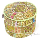 Eyes of India 17 X 12 Small Green Patchwork Round Ottoman Pouf Pouffe Cover Floor Seating Boho Bohemian Indian