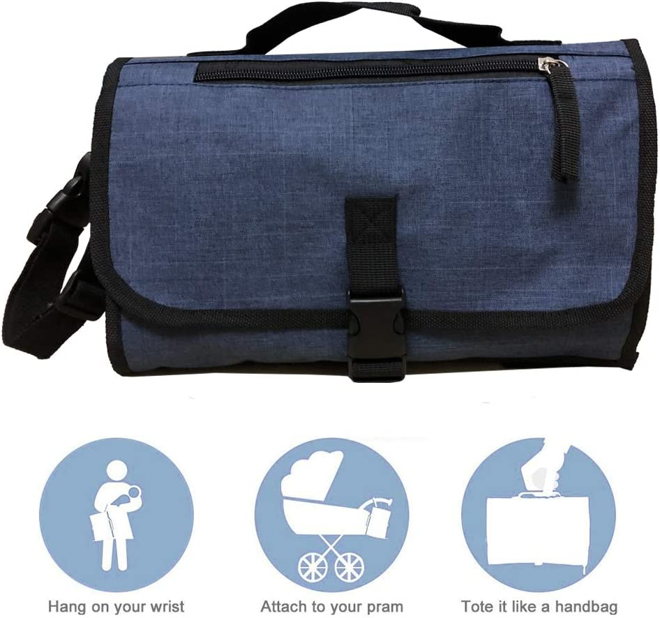 Navy Blue Detachable Waterproof Baby Travel Changing Mat Station for Toddlers Infants /& Newborns Mesh and Zippered Pockets Portable Baby Diaper Changing Pad with Head Padding