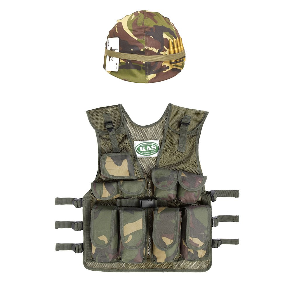 Kids Army Military Camouflage Camo Helmet & Assault Vest Fancy Dress Role-Play