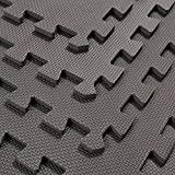 HomCom 24Sqft Interlocking Floor Mats EVA Foam Exercise GYM Tiles- Set of 6- Gray