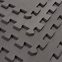 HomCom 24Sqft Interlocking Floor Mats EVA Foam Exercise GYM Tiles- Set of 6- Gray