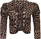 ApplesBottom Women Brown Leopard Ruched Sleeve Button Crop Bolero Shrug