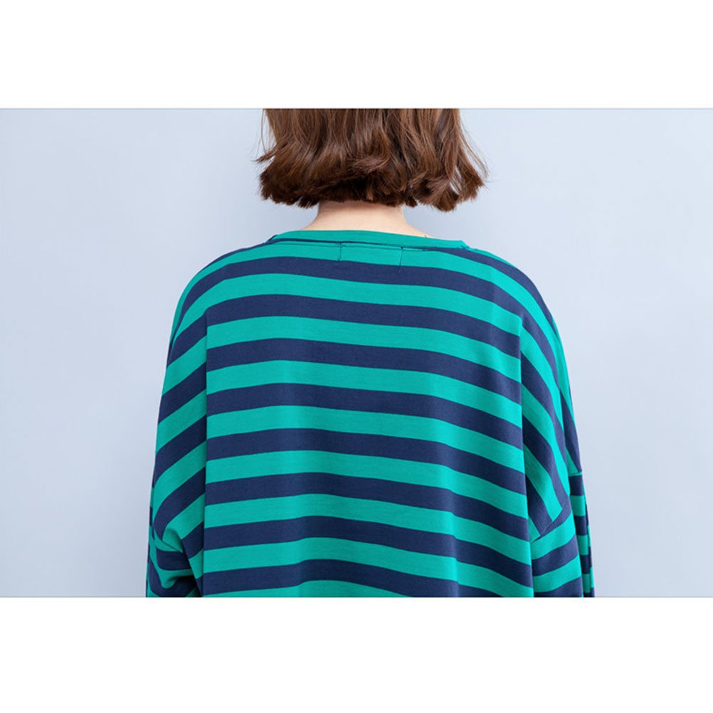Zhuhaitf Ladies Striped Hole Hollow-Out Tee Crew Neck Tops Shirt Large Pullover