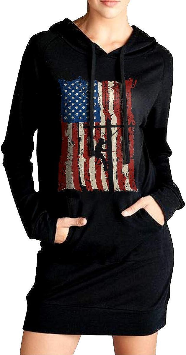 American Power Lineman Coat with Kanga Pocket ADA/&KGH Womens Sports Sweatshirt Long Hoodies Dress