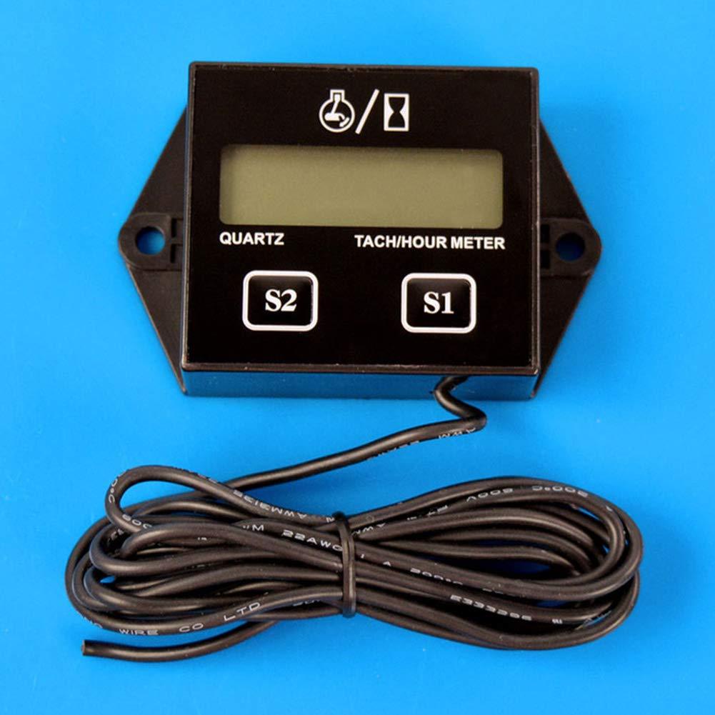 noir Inductif Compte-tours Digital Tach Hour M/ètre Jauge de tachym/ètre pour tous les Moto Marine Bateau ATV motoneige avec moteur 2/temps et 4/temps au gaz
