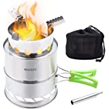 HIKPEED Camping Stove Portable Wood Stove Stainless Steel Folding Backpacking Stove for Outdoor Camp Survival Hiking Picnic w