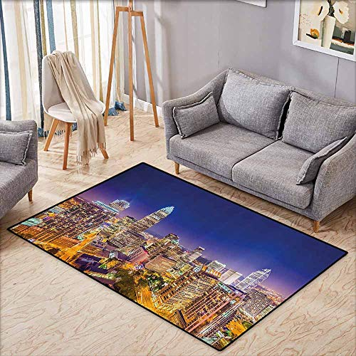 Bath Rug 3D Digital Printing pad Wide Tap Panoramic North Carolina Uptown Sky at Night Cityscape Luminous Town Picture Indigo Orange Suitable for Outdoor and Indoor use W6'8 xL4'9 - North Carolina Grill Pad