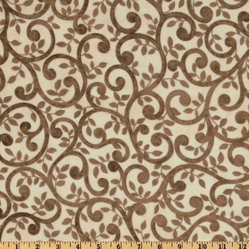 Normandy Court 108in Quilt Backing Scrolling Vines Taupe/Cream Fabric By The Yard (Quilt Vines Fabric)