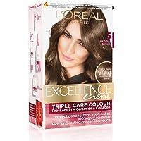 L'Oreal Paris Excellence Creme Hair Color, 5 Natural Brown, 72ml+100g