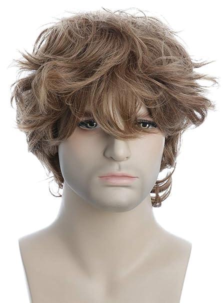 Karlery Peluca corta para hombre, rizada, peluca de color ...