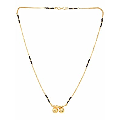 Traditional Maharashtrian Style Gold Plated Chain Black Bead Chain Mangalsutra For Women