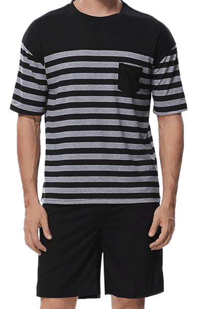 Vepodrau Pijama De Dos Piezas Los Hombres Conjunto Tops Cortos Shorts Sleepwear Sets Black S