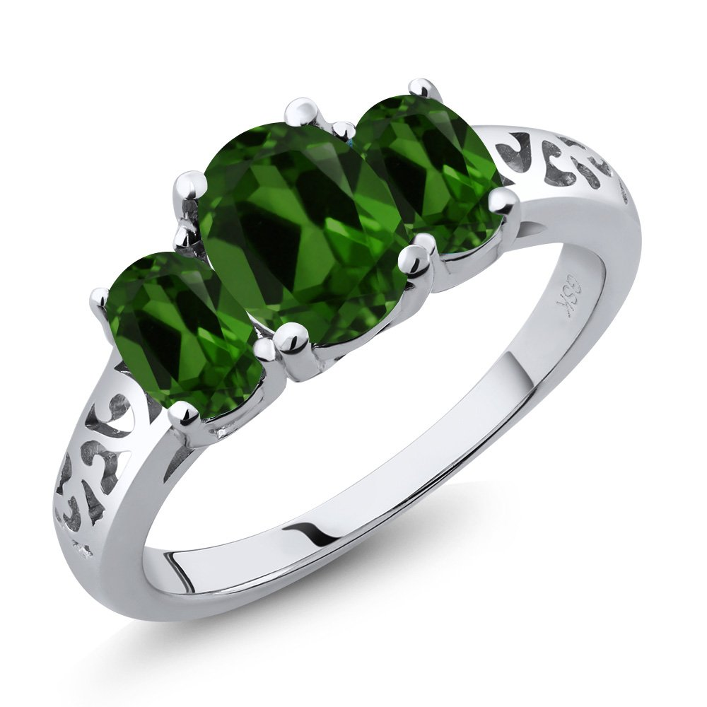 2.10 Ct Oval Green Chrome Diopside 925 Sterling Silver 3 Stone Ring