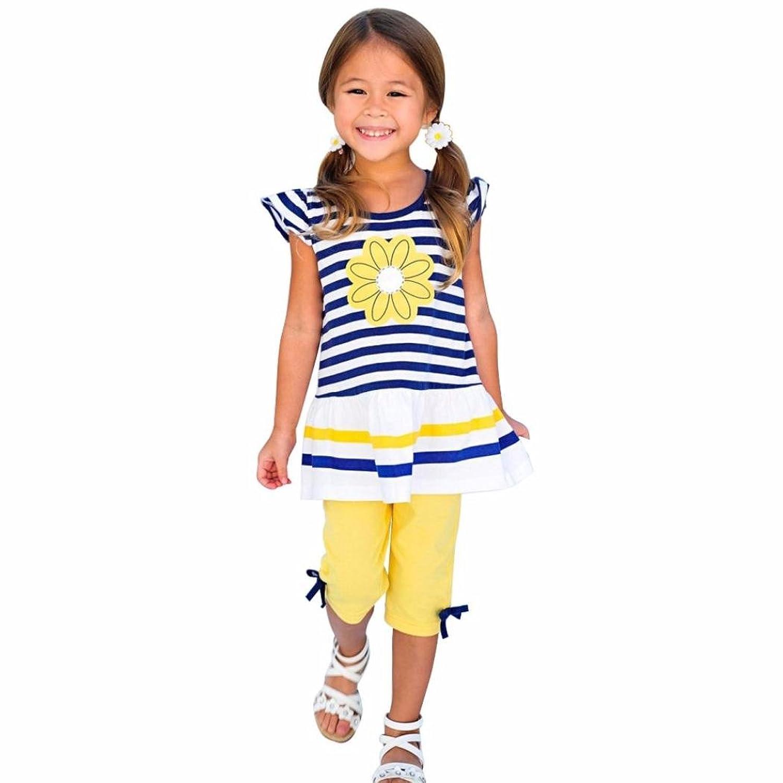 ADESHOP 2PCS Enfants Filles Daisy Flower Stripe Shirt+ Bow Pant Set VêTements Filles Saison D'éTé DéContracté Et Charmant T-Shirt Tops Chic Auto-Culture Short Pant