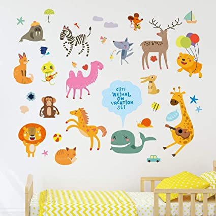 Amazon Brand - Solimo Wall Sticker for Kid's Room (Vacation in The Zoo, Ideal Size on Wall - 120 cm x 100 cm)