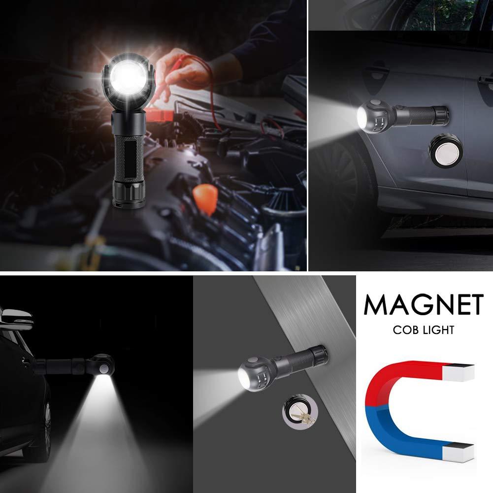 USB Rechargeable 360 Degr/és LED T6+COB Ultra Puissante Lumi/ère 7 Modes d/éclairage Classe /Énerg/étique A+++ Torche Lampe de Poche LED