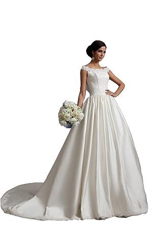 Vestido de novia de satén beatu Moderno (blanco)
