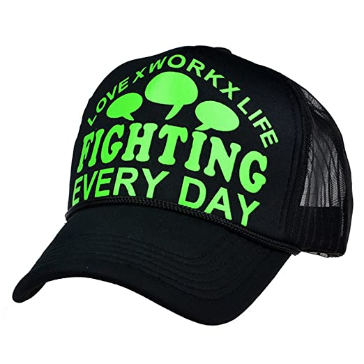 LOCOMO Black Love Work Life Fighting Everyday Mesh Back Snapback Cap  FFH192GRN 310788a1d223