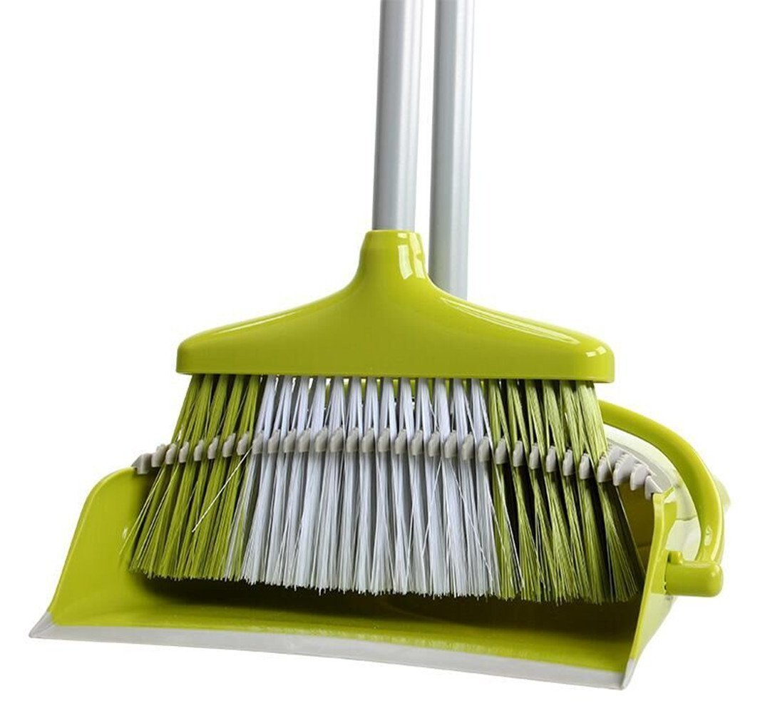 Seasonrush High Strength Plastic Flexible & Durable Sweeper Long Handle Standing Upright Dustpan And Broom Set for Home Office Commercial Hardwood Floor Use (Green)