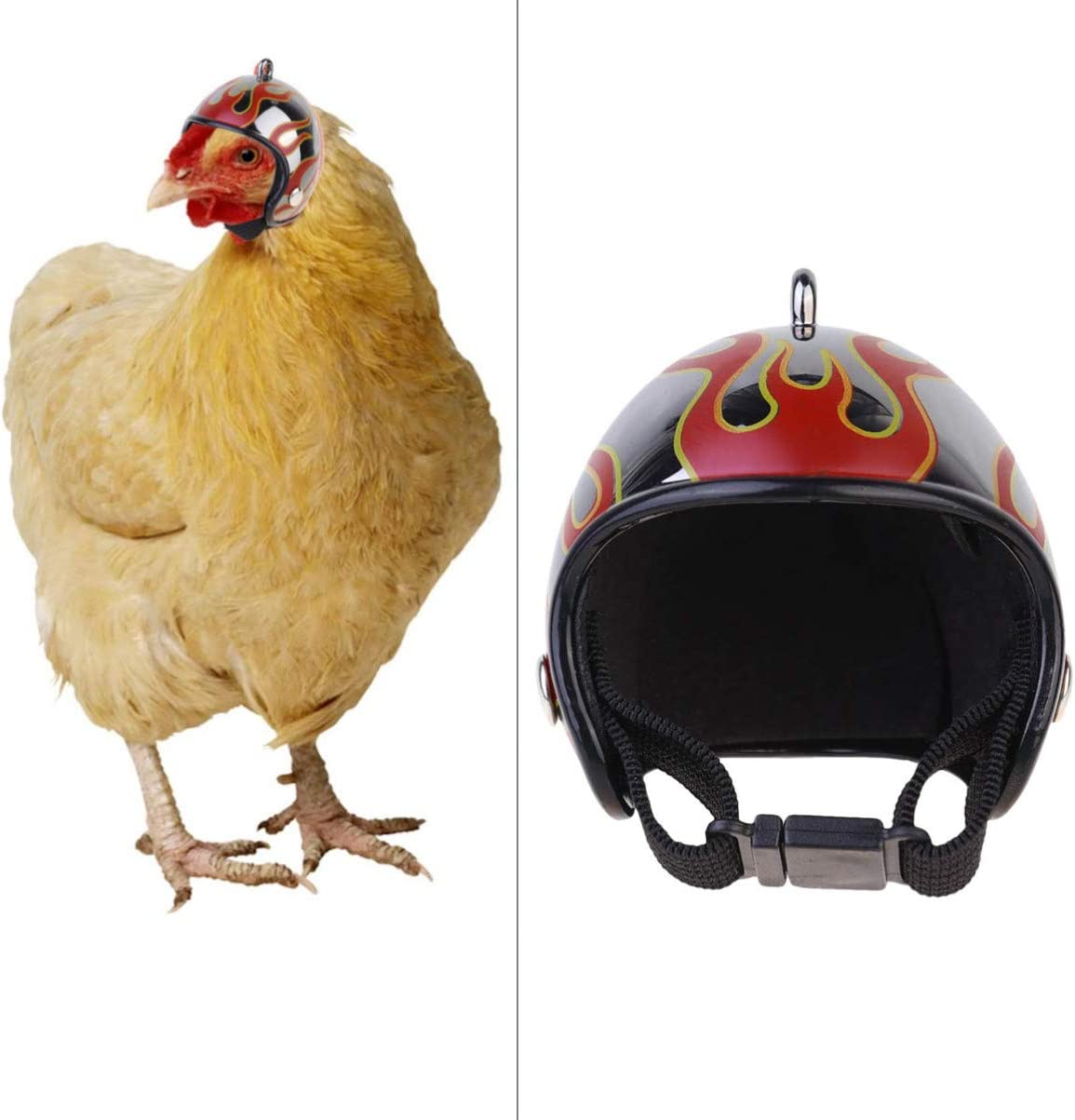 Funny Chicken Hat Safety Parrot Helmet Toy with Adjustable Chin Strap POPETPOP Small Pet Helmet Sun Rain Protection Small Pet Hard Hat