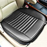Car Seat Cushion Cover Universal Car Seat Covers Waterproof with PU Leather Car Seat Pad Mat Bamboo Charcoal Car Seat Protector Accessories Four Seasons (Black)
