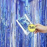 Dreamyth Foil Fringe Curtain, 1 Pack Black Tinsel Foil Fringe Photo Backdrop for Birthday Party Wedding Decor (Blue, 1mx1m)