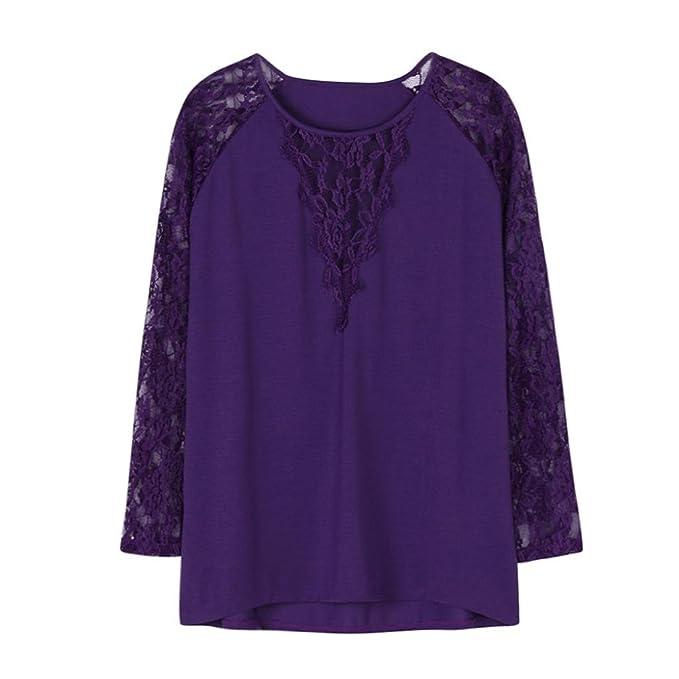 4f43ba69f5ea DRESS start Damen Langarm Solid Plus Size Lace BeiläUfige Bluse Lose Tops T- Shirt Cartoon Damen