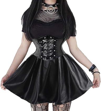 Falda de Corsé de Cuero Sintético Steampunk para Mujer Falda de ...