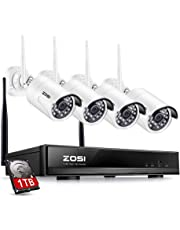 ZOSI Full 1080P HD Wi-Fi Wireless Security Camera System 4CH 1080P HDMI NVR and (4) HD 2.0MP 1080P Indoor/Outdoor IP Cameras,65ft Night Vision, Customizable Motion Detection with 1TB Hard Drive