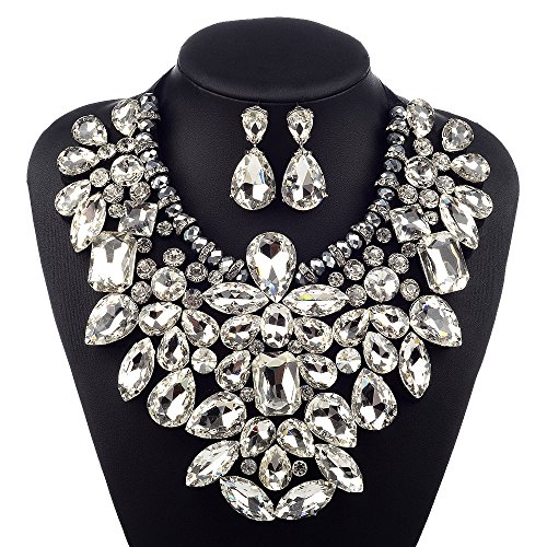 Rhinestone Chunky (3 Colors Costume Statement Necklace for Women Jewelry Fashion Necklace 1 Set with Gift Box (White))