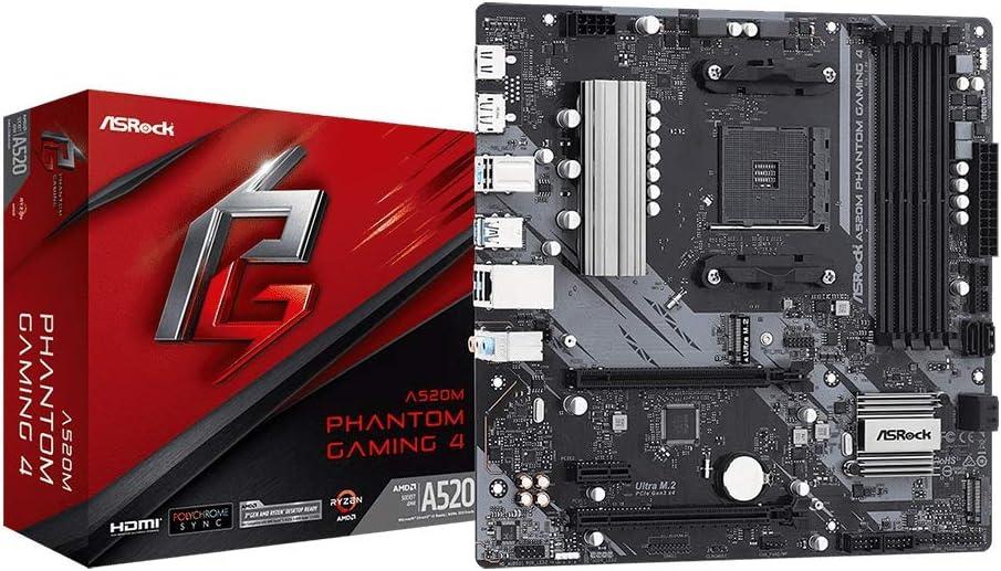 Asrock A520m Phantom Gaming 4 Am4 Matx Snd Gln U3 2 Computers Accessories