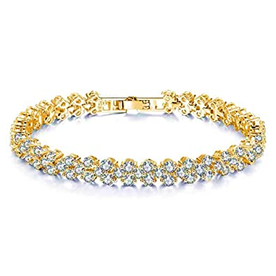 2a56ed446c8a9 FannyShop Rhinestone Bracelet Bangle Link, Women Silver/Gold Plated Crystal  Bracelets, Fashion Teen Girl Bangle Bracelet - Bridal, Wedding, Prom, ...