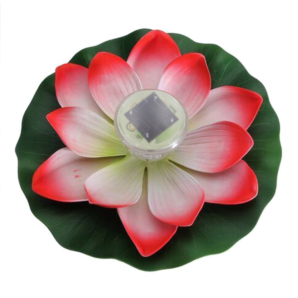 SODIAL(R) Solar LED Light Garden Floating Lotus Light 7-colored Changing Waterproof Night Flower Lamp for Pond (Lotus red)