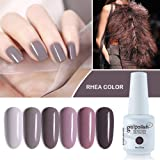 Vishine Gel Nail Polish Set- Gray Tupe Series 6 Colors Nail Art Gift Box Soak Off UV LED Gel Polish Starter Kit 8ml