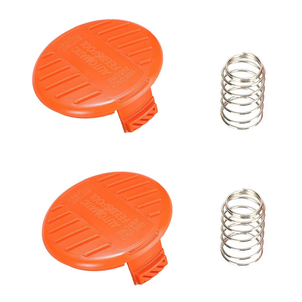 "Ketofa 385022-03 Replacement Spool Cap Covers and Spring Compatible with Black and Decker AFS Trimmer GH600/NST2018 NST2118 RC-100-P Weed Eater Bump Cover with Spring Use Only 0.065"" Line"