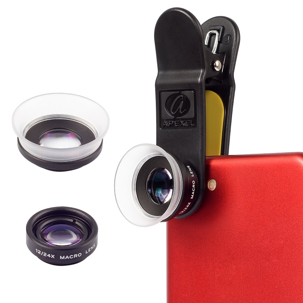 Apexel Professional 12X/24X Advanced Macro Lens for iPhone 6/6plus 6plus/6S Plus SE Samsung S6/S6 Edge S7/S7 Edge HTC and Android Phones & Tablets