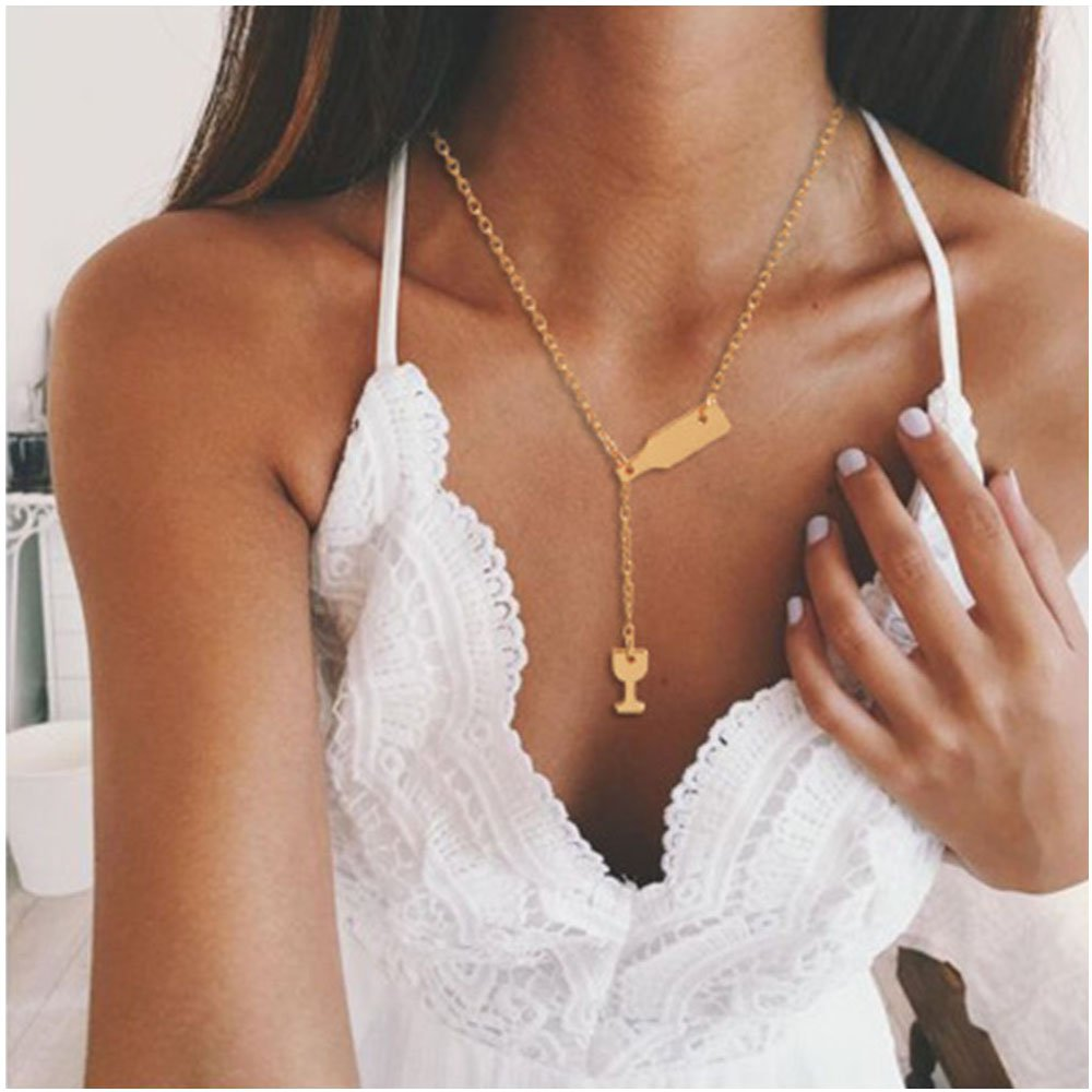 Gold Wine Glass and Bottle Pendant Collarbone Necklace for Women MINGHUA